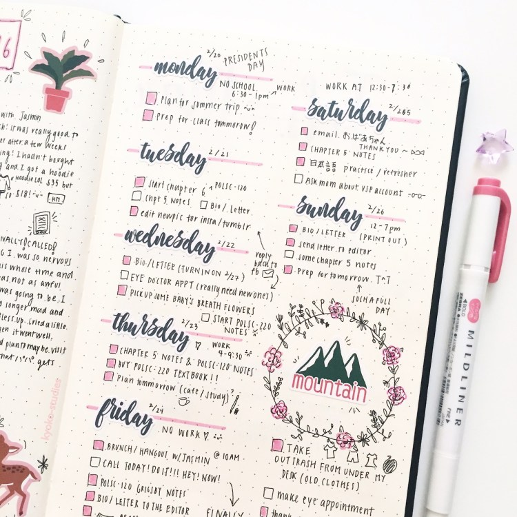 bullet journal page ideas, bullet journal weekly spread,