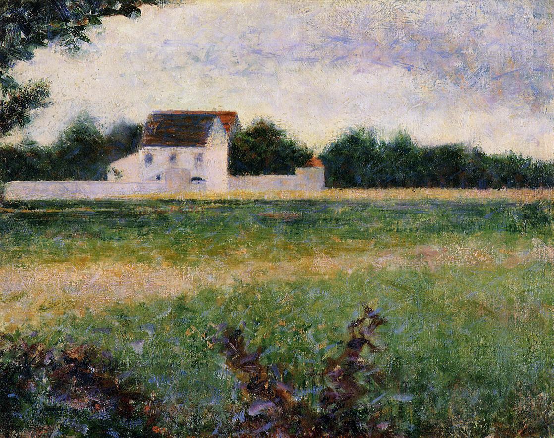 "artist-seurat: "" Landscape in the Ile-de-France, 1882, Georges Seurat Size: 32.5x40.5 cm Medium: oil on canvas"""