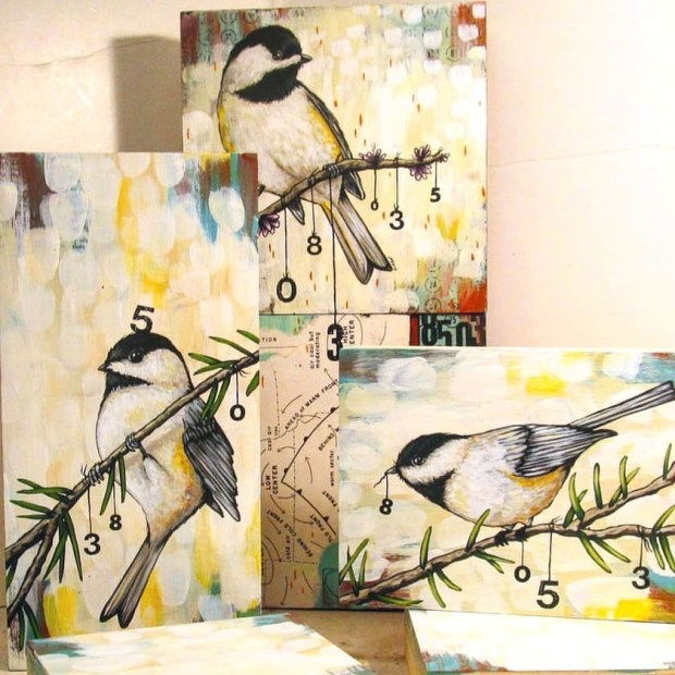 Painting some Chickadees for a larger piece