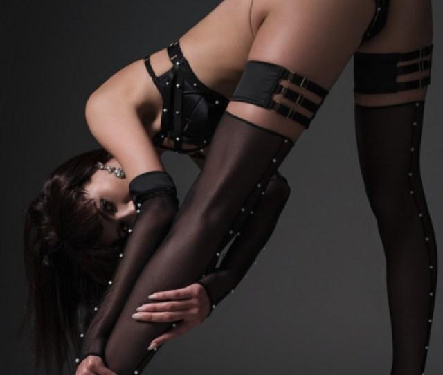 Pretty Nice Ddab Fddd Ludique Lingerie Pearl Harness Bra Thong In Black Satin Styled