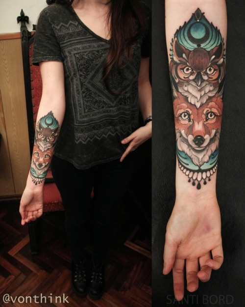 tumblr oyldd7pCp71qzabkfo1 500 - The Owl and fox tattoo by Santi Bord , Vonthink