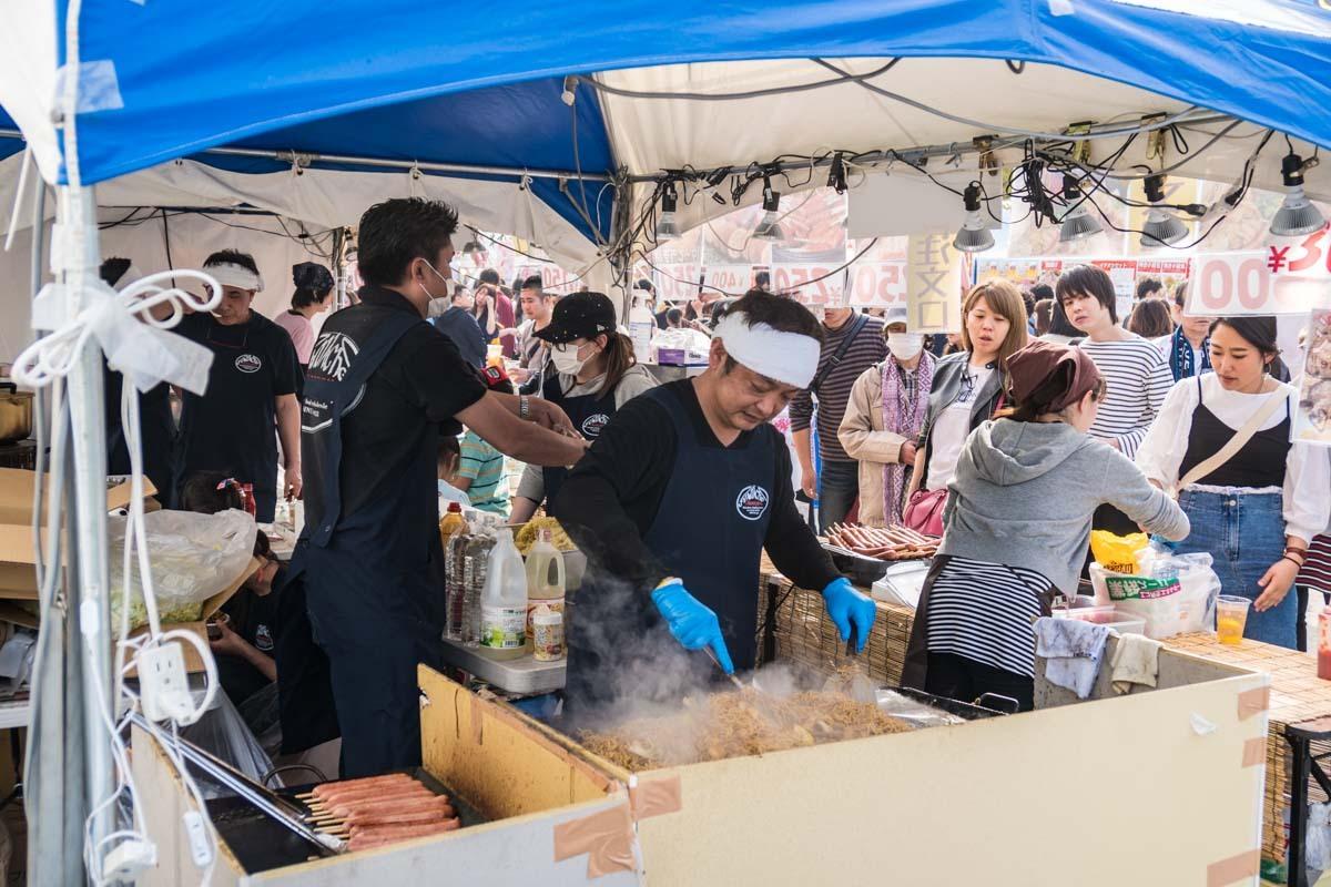 Japanese Food Market at Ueno Park, Tokyo - Sakura Season