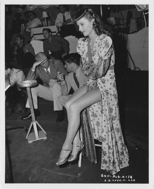 Barbara Stanwyck on the set of Ball Of Fire with Howard Hawks