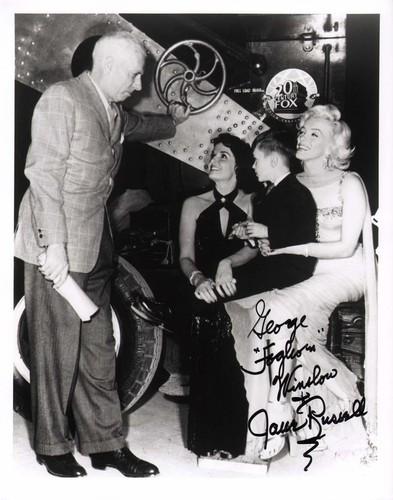Howard Hawks on the set of Gentlemen Prefer Blondes with Jane Russell, George Winslow, and Marilyn Monroe