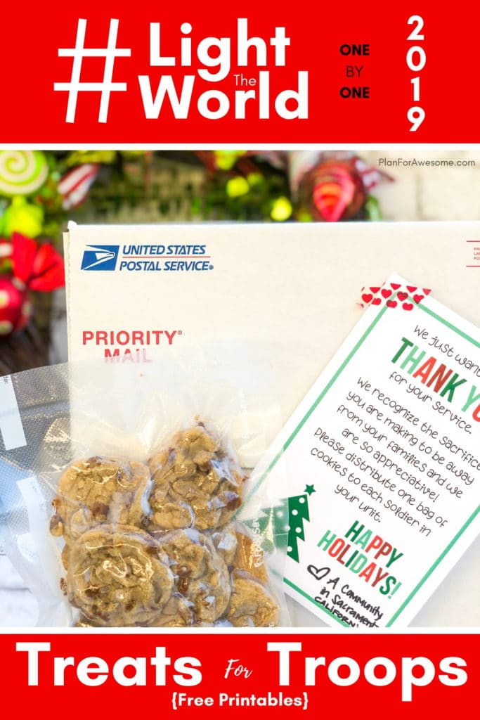 #LightTheWorld 2019 - Treats for Troops - What an awesome idea to light the world this year!  I love that you can make it as big or as small as you want, and the free printables are so cute!  Can't wait to do this with my ward! #LightTheWorld #soldiercarepackage #freeprintables