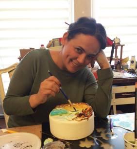 ferhan dilek uluocak butik pasta resimleme ders cake painting sugar paste design seker hamuru kurs