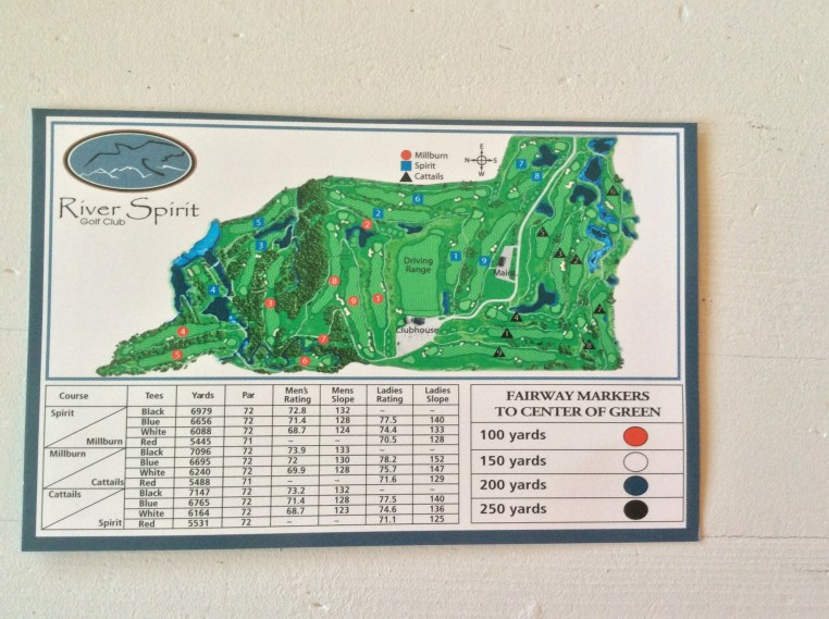 River Spirit Golf Course - Rating and Slope for men and ladies for each sets of tees. As there are 27 holes the chart shows the combination of nines that make up the rotation for 18 hole play.