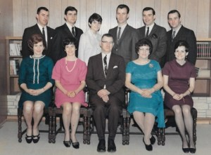 The Maloney Family - March 1968 - Back row: Jim, Daanny, Debbie, Leonard, Bernie and Terry. Front row: Kay, Betty. Pat, Mary and Donna