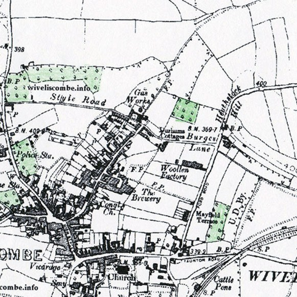 1.Map showing sites of old orchards around Wiveliscombe