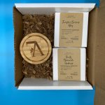 Gift Set Two 5oz Cold Pressed Soaps with 1.7oz Moisturizer/Foot Cream and a Personalized Note