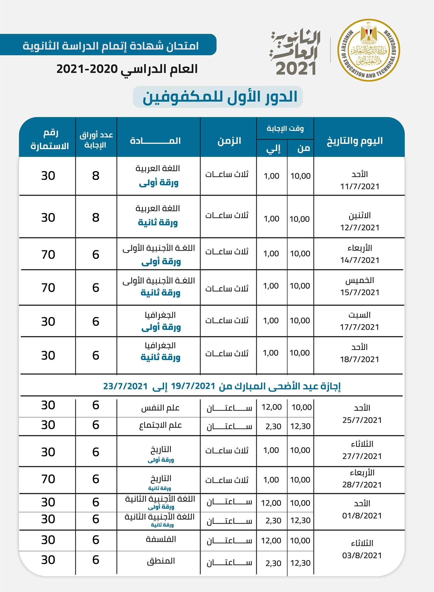 جدول امتحانات الثانوية العامة 2021 للطلاب المكفوفين