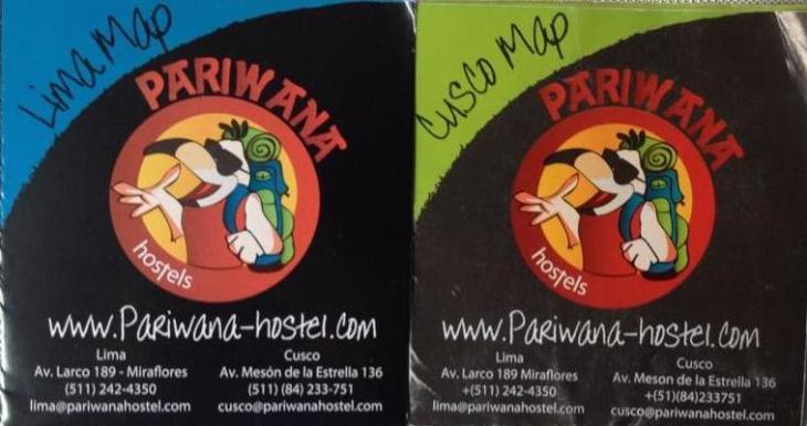 Mapas de Cusco e Lima fornecidos pelo Hostel Pariwana