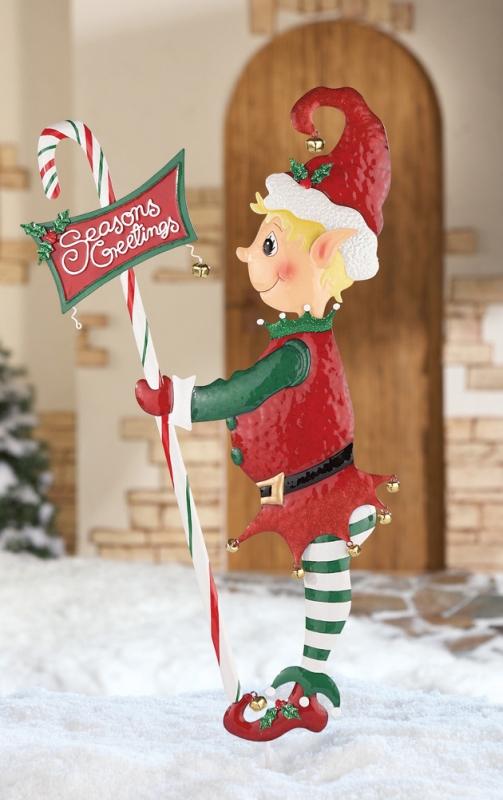 Christmas Elf Seasons Greetings Garden Stake Christmas