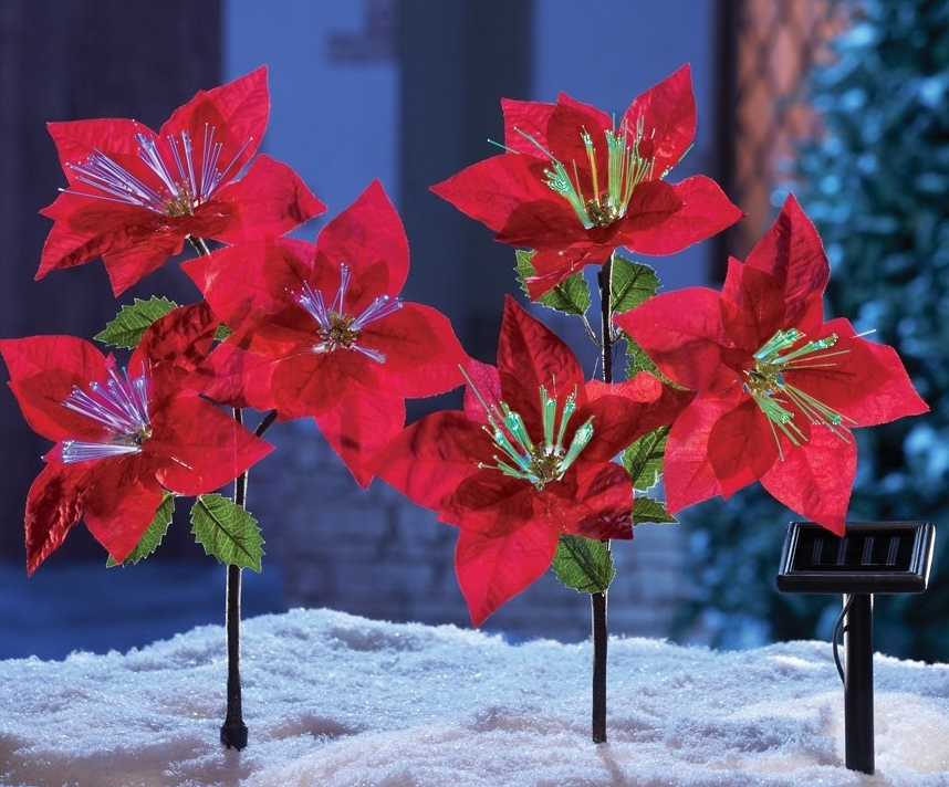 Solar Power Lighted Fiber Optic Red Poinsettia Flowers Christmas Yard Christmas