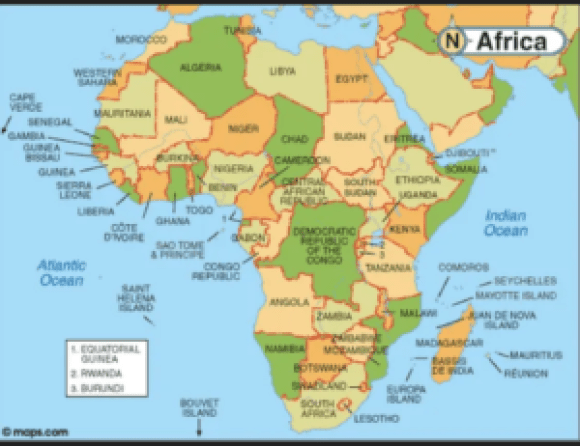 Map Of Africa Oceans.7 Continents And 5 Oceans Of The World