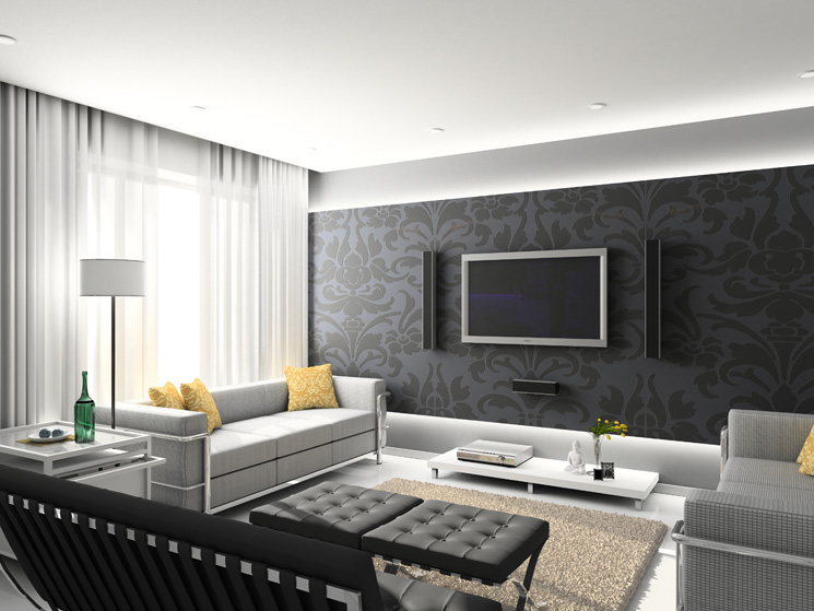 Black And White Living Room Wallpaper 4 Home Ideas Part 61