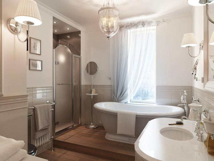 Nice Bathroom Design With White Paint