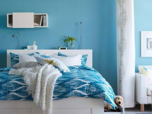 Calm Blue Paint For Minimalist Bedroom