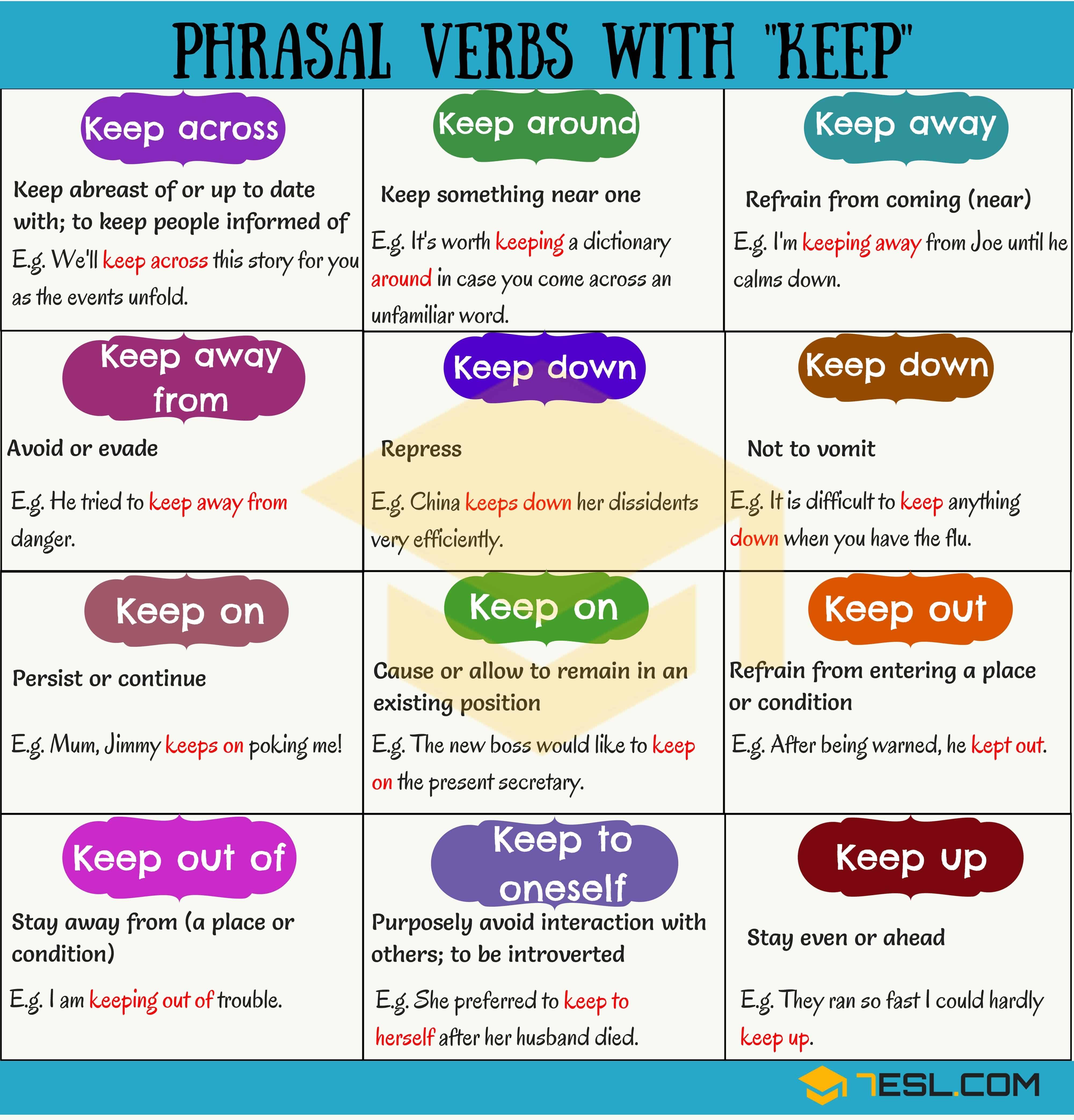 28 Phrasal Verbs With Keep Keep Down Keep On Keep Away