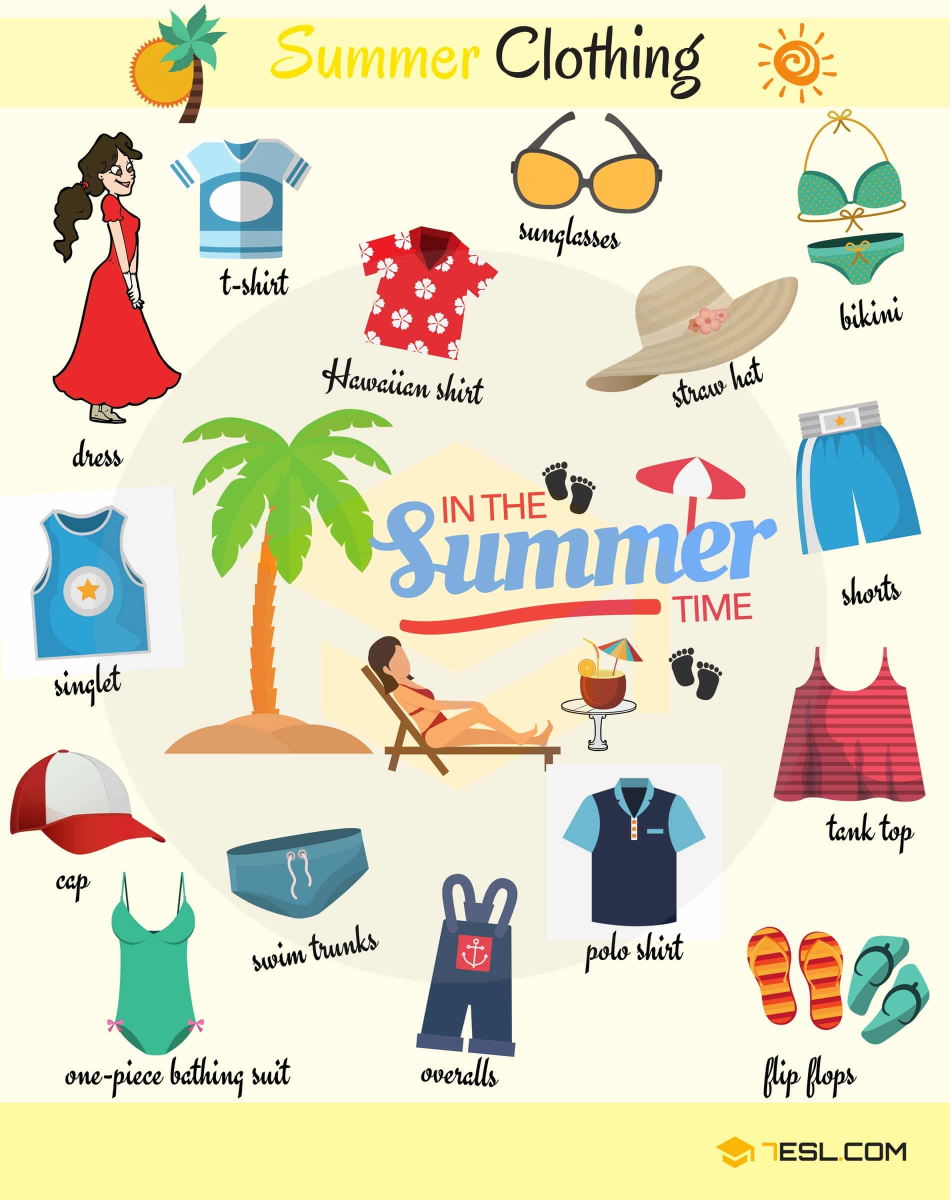 Summer Clothes And Accessories Names With Pictures