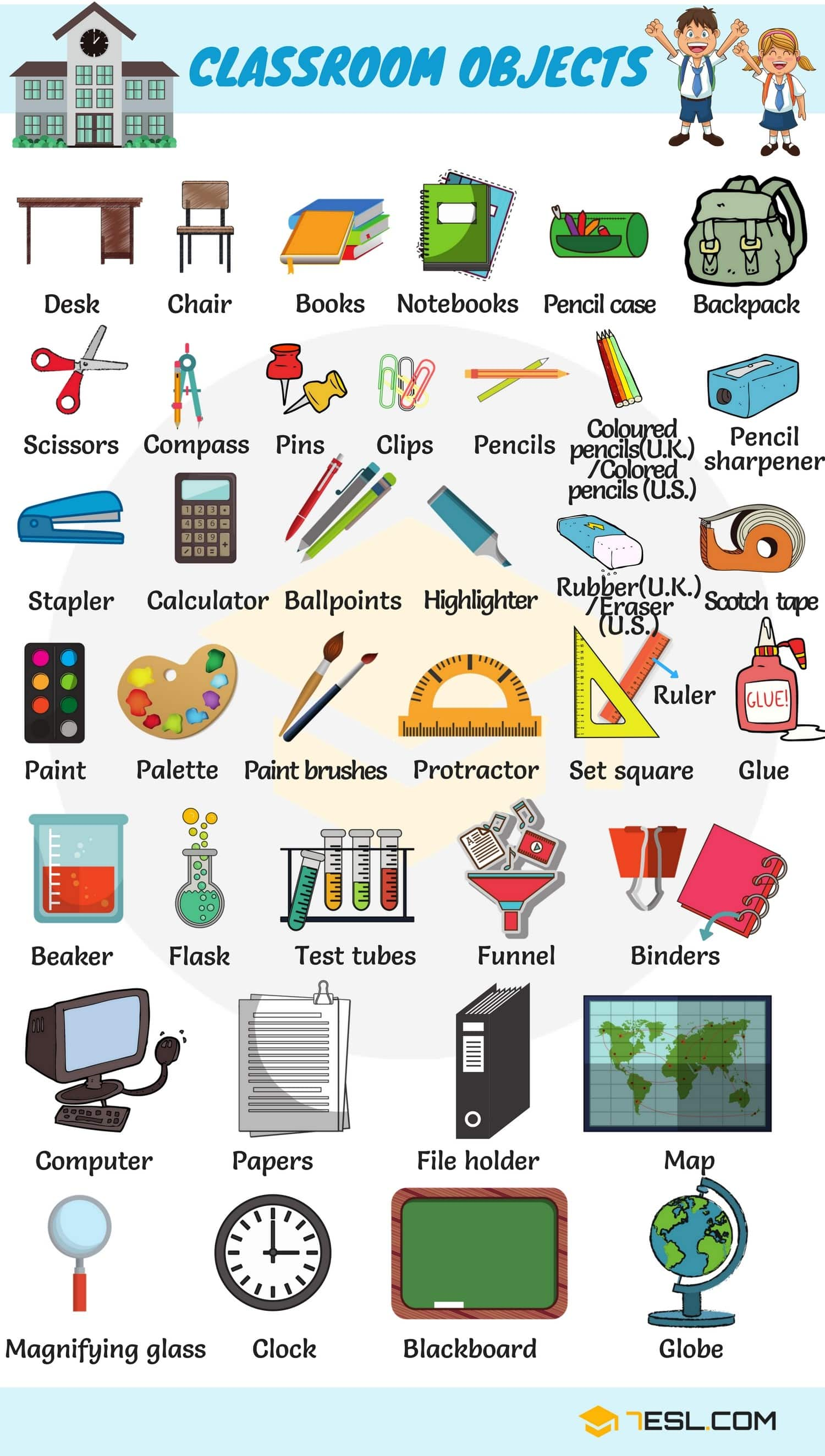 Classroom Objects In English Classroom Vocabulary