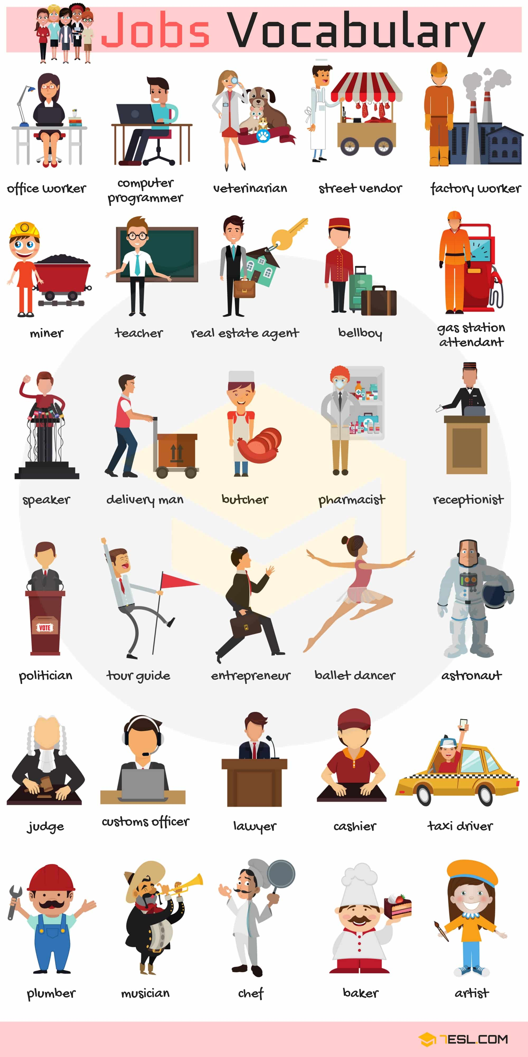 Jobs Vocabulary Amp Job Names With Pictures
