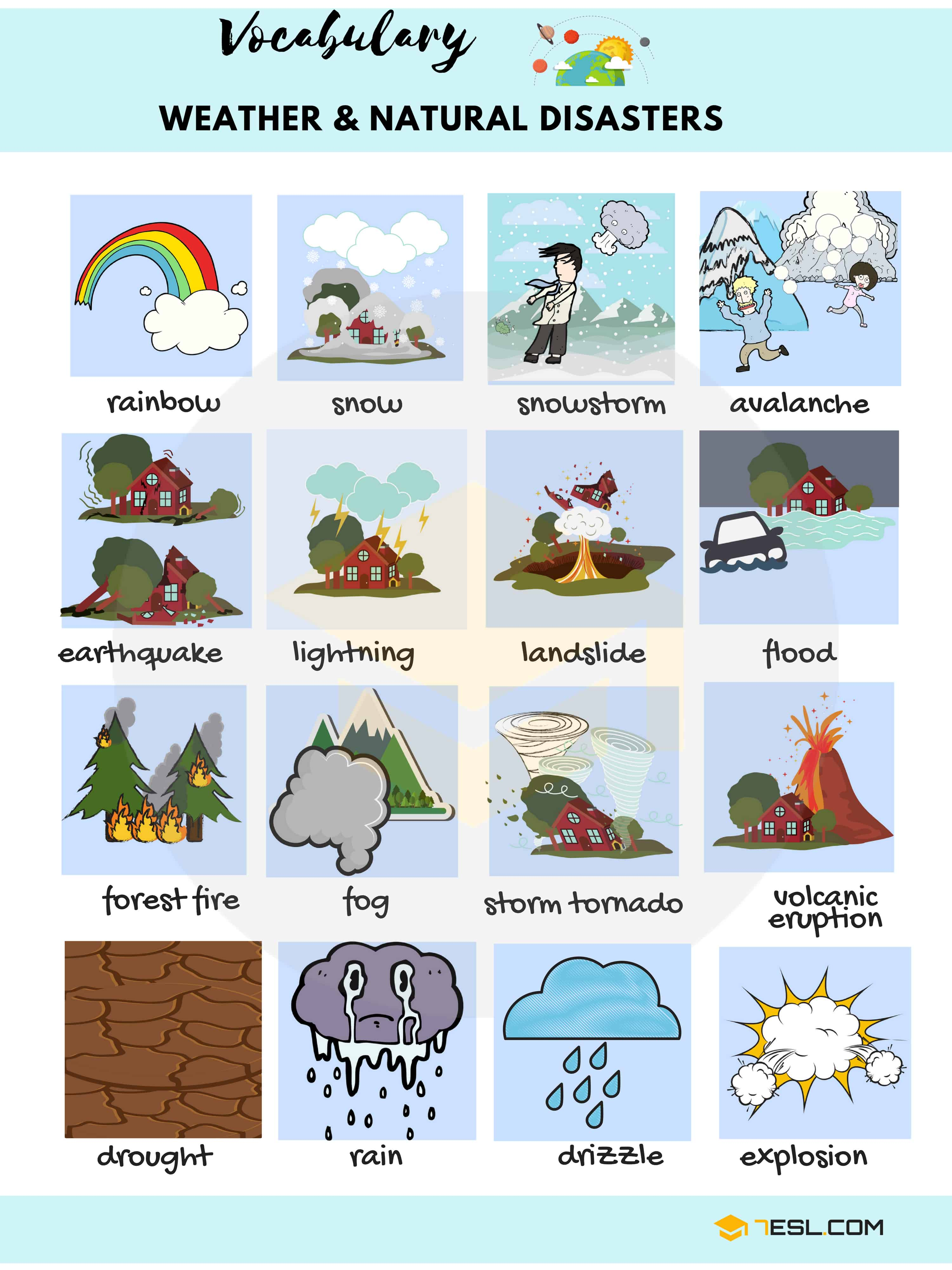 Natural Disaster Vocabulary Worksheet