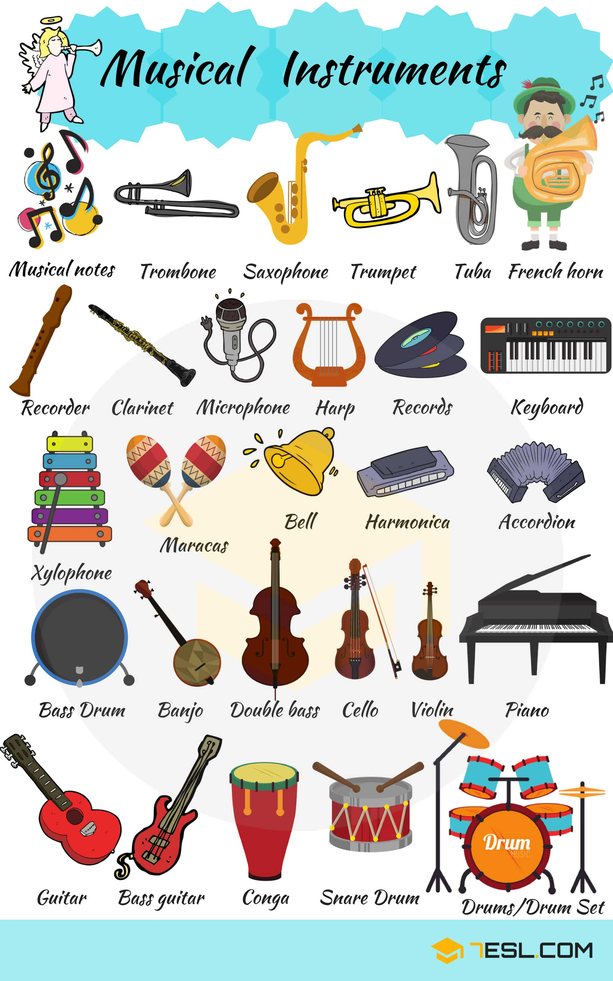 Musical Instruments Vocabulary In English 7 E S L