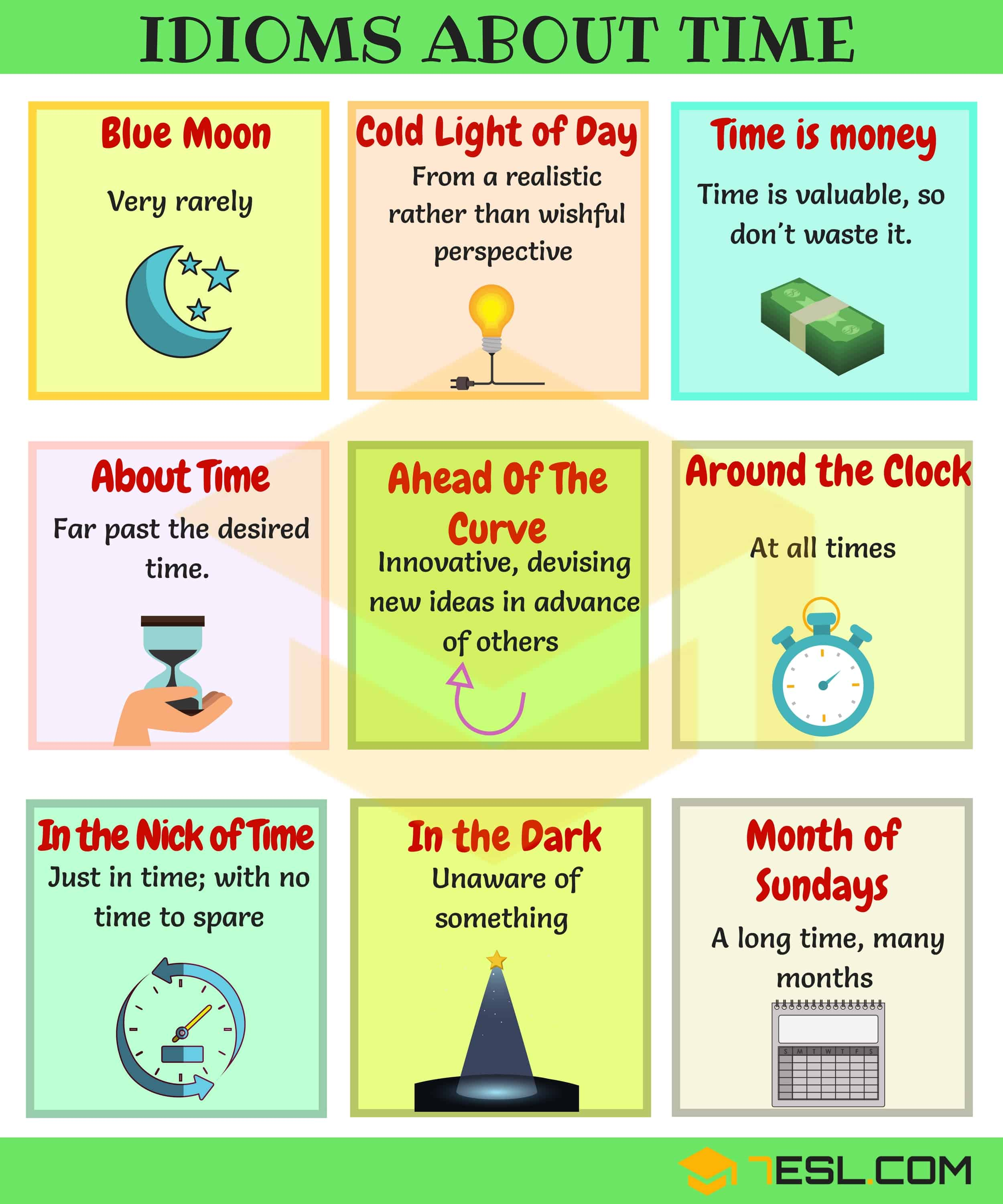Time Idioms 40 Useful Sayings And Idioms About Time