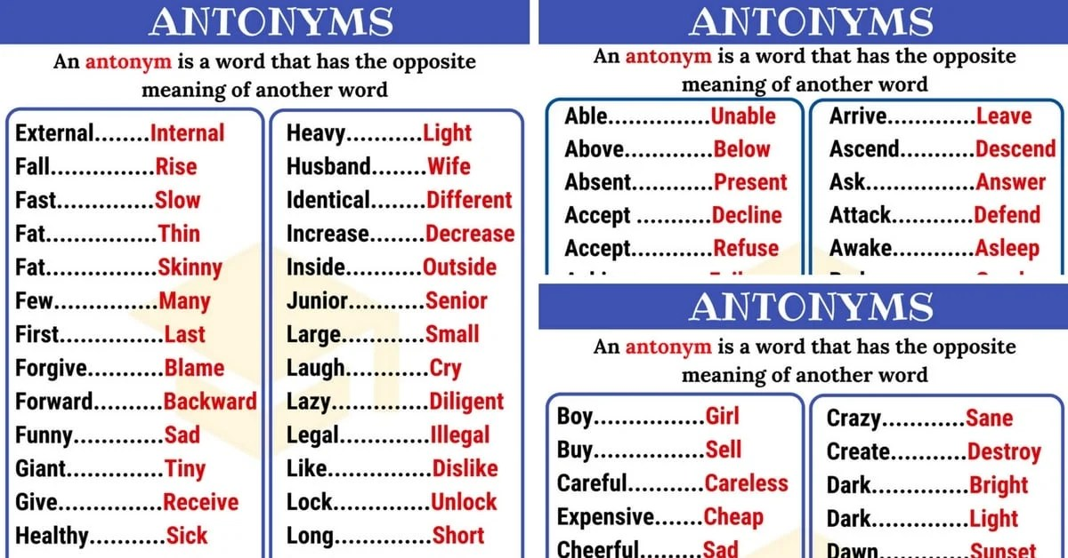 Opposites: 300+ Antonyms List From A-Z With Examples