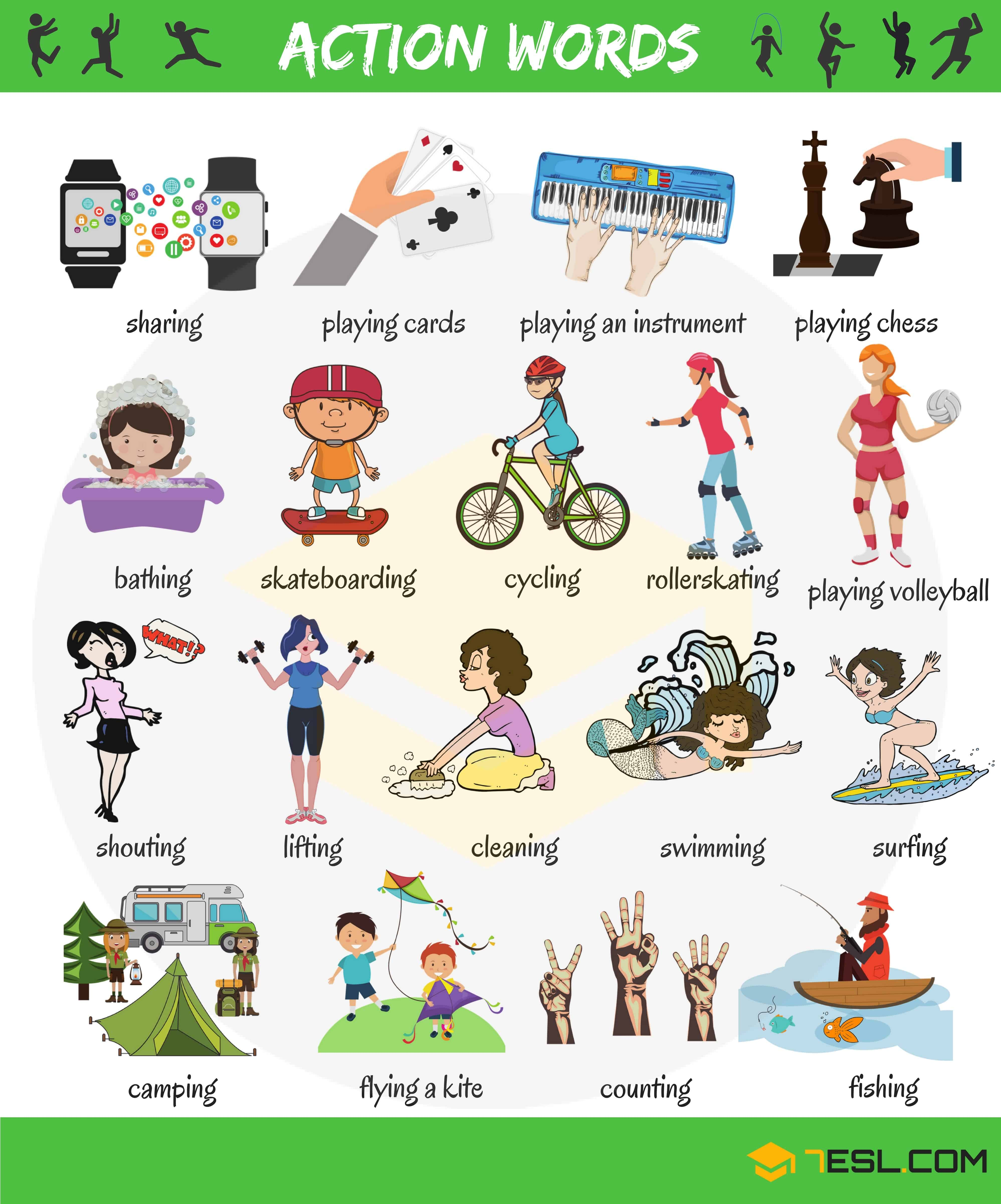 Action Words List Of Common Action Words With Pictures