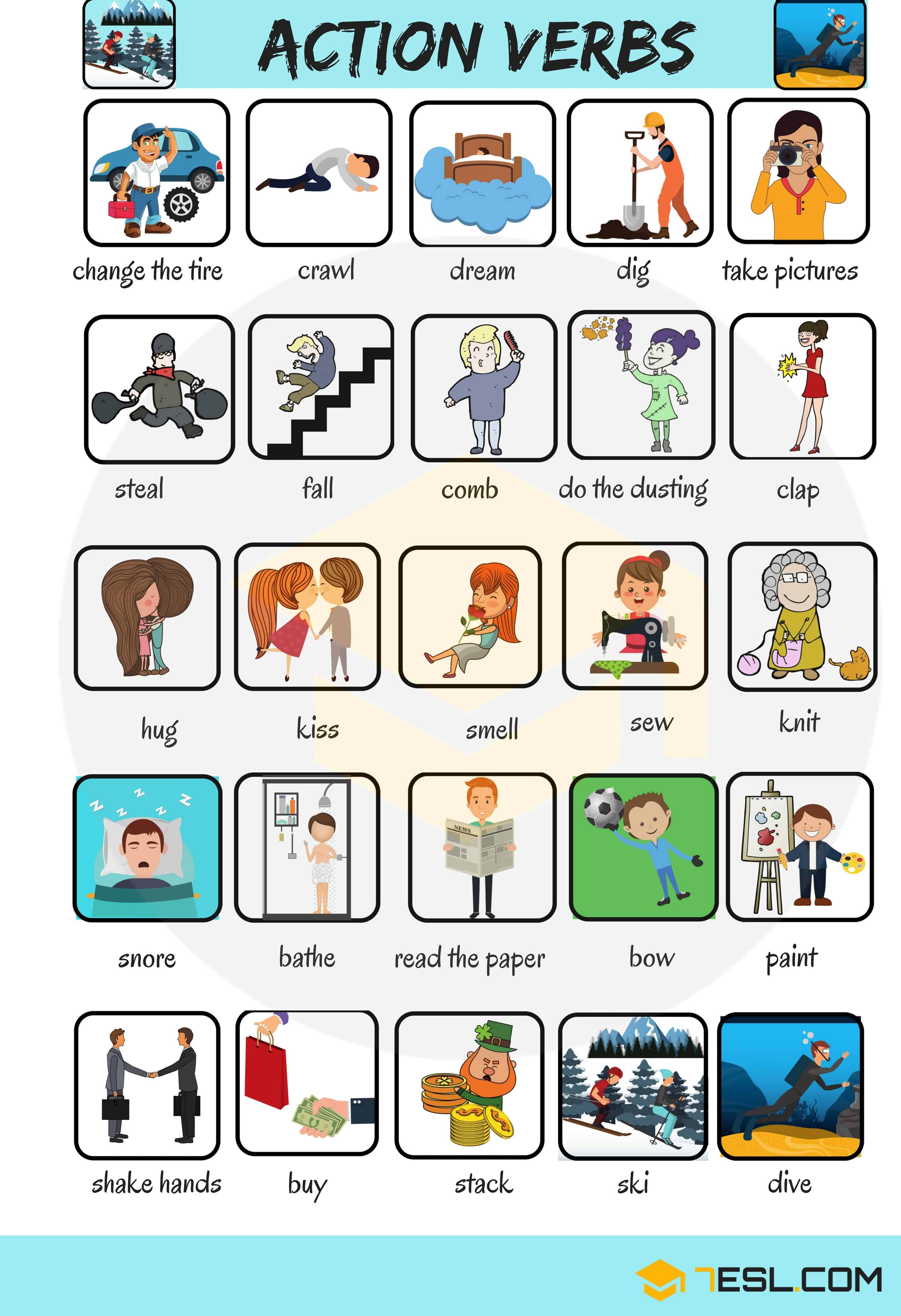 Learn 300 Common Verbs In English With Pictures