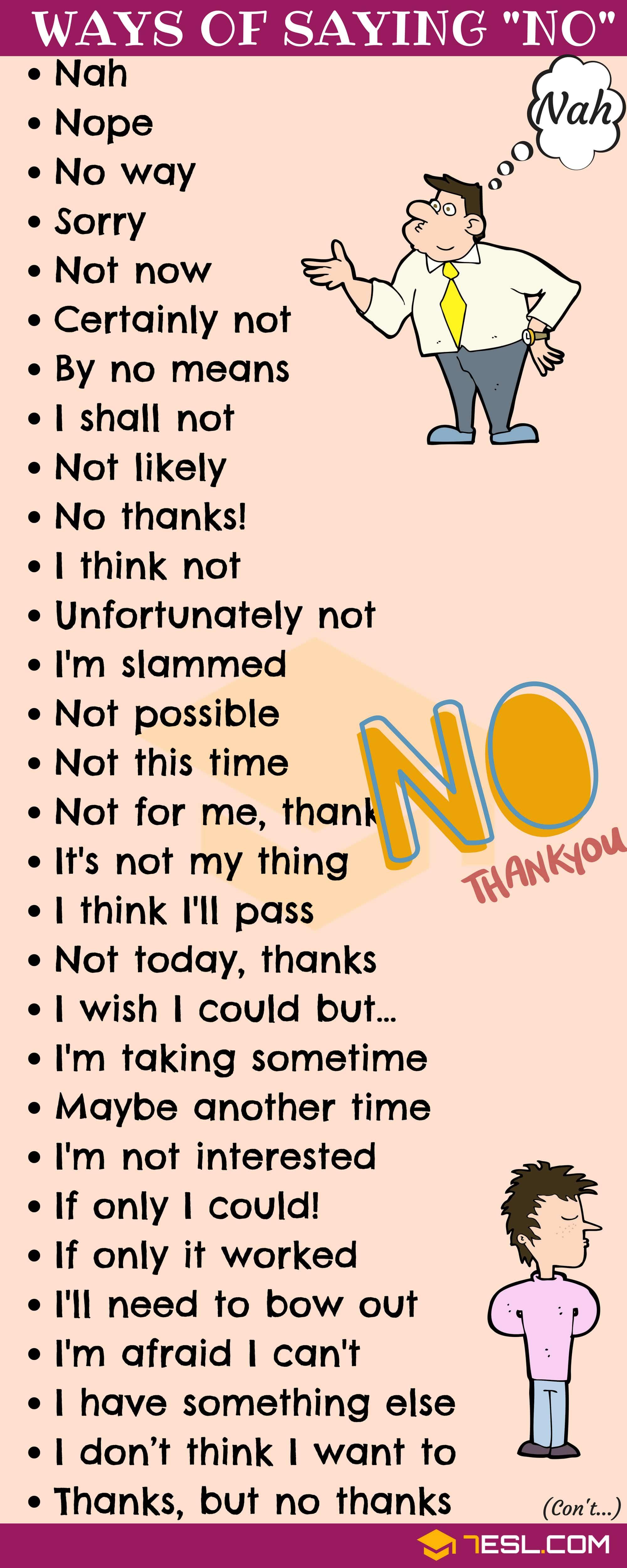 No Synonym 55 Alternative Ways To Say No To People