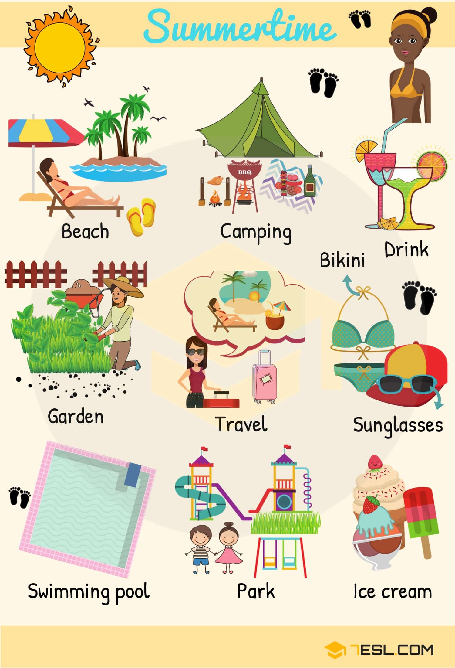 Summer Words Summer Vocabulary Words With Pictures