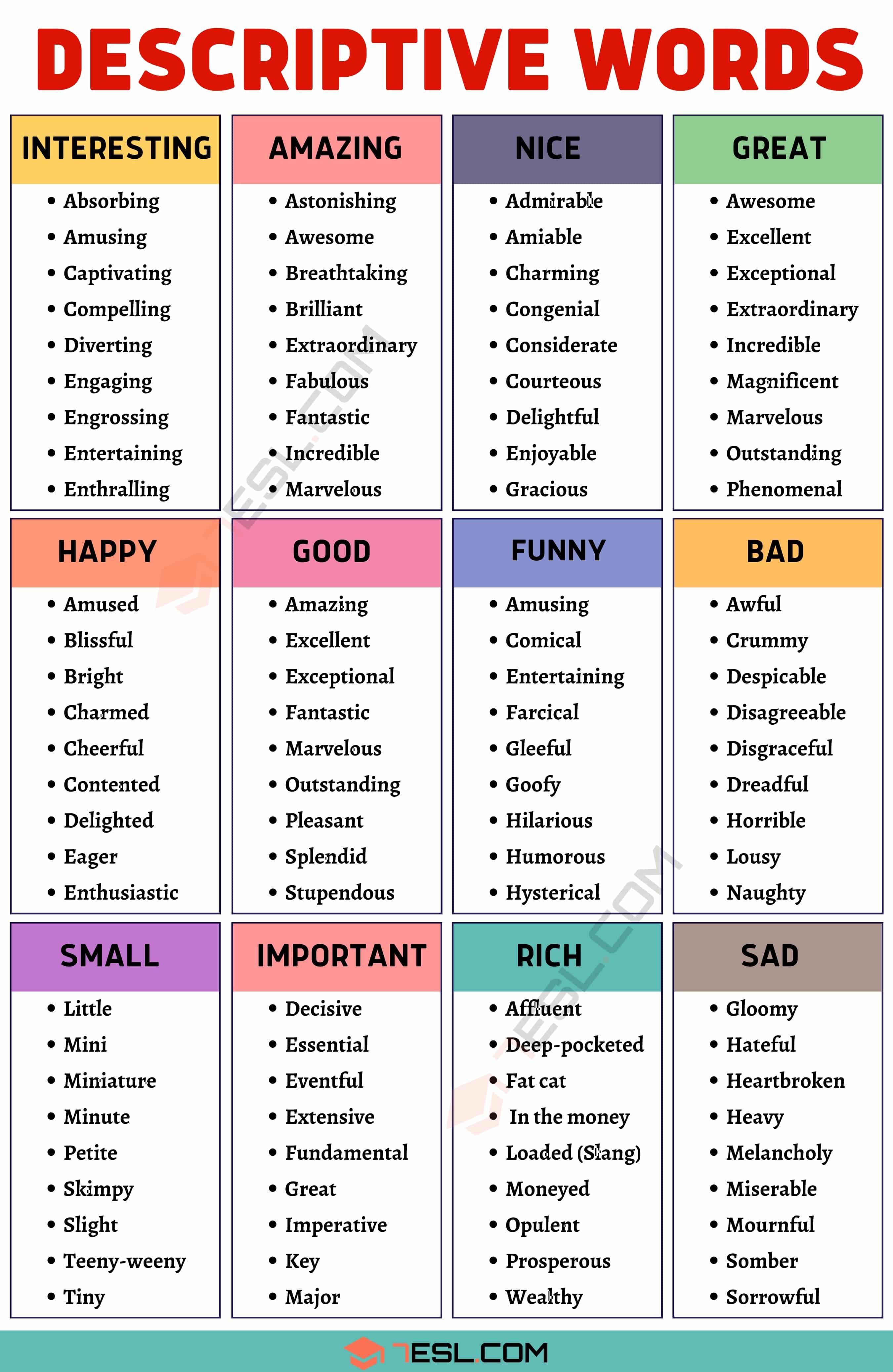 Descriptive Words Hundreds Of Descriptive Adjectives