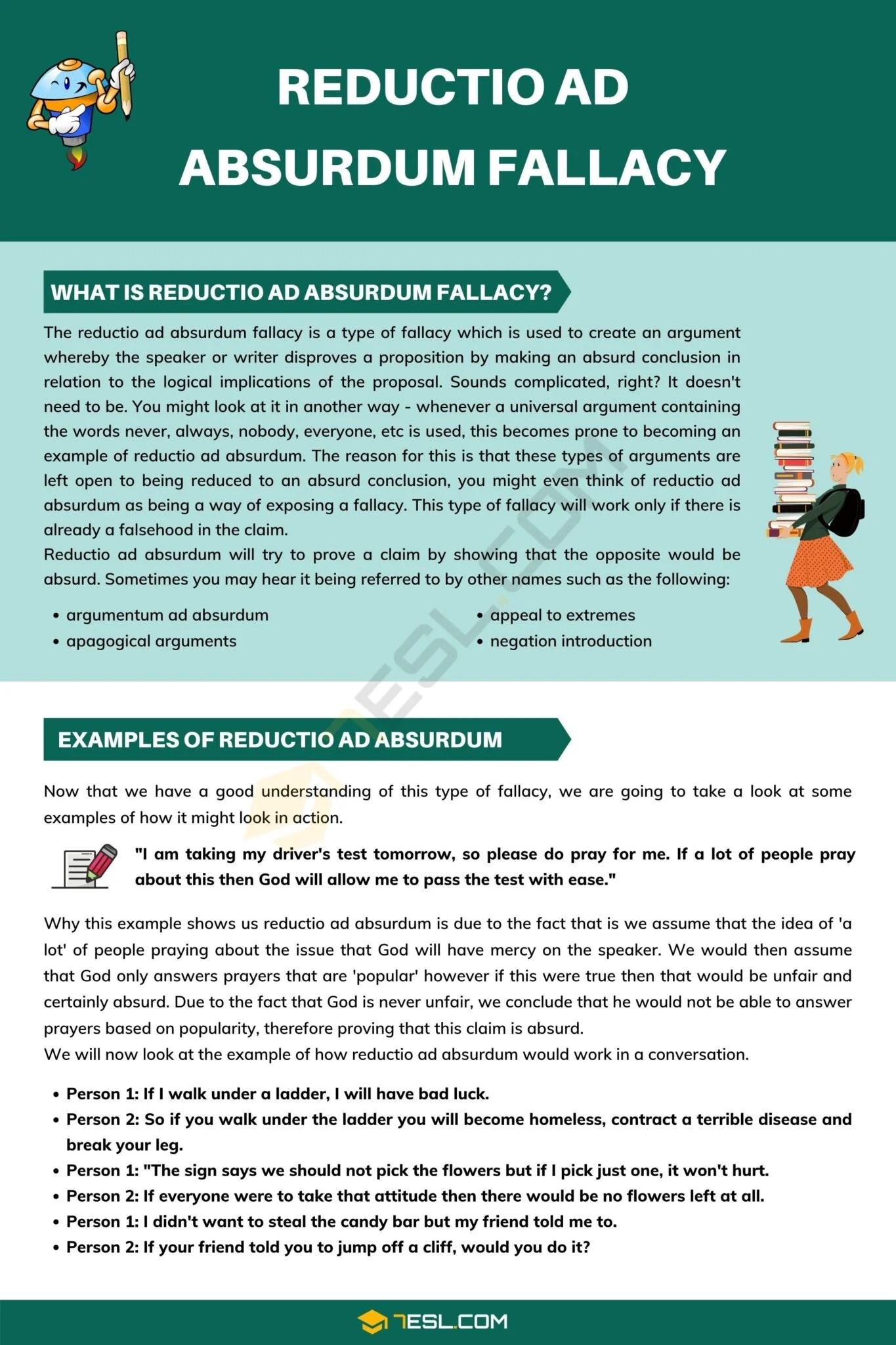 Reductio Ad Absurdum: Definition & Examples Of Reductio Ad Absurdum Fallacy - 7 E S L