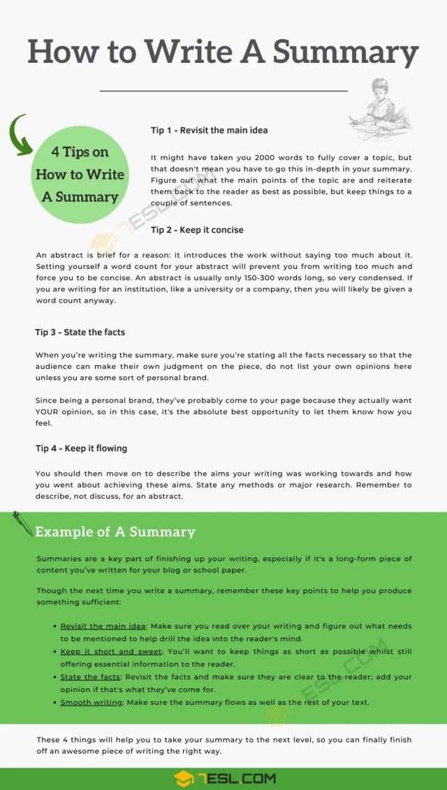 How to Write A Summary  12 Useful Tips for Writing a Summary • 12ESL