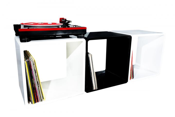 7even Lounge Design Cube / Hochglanz Weiss 45cm / Regal