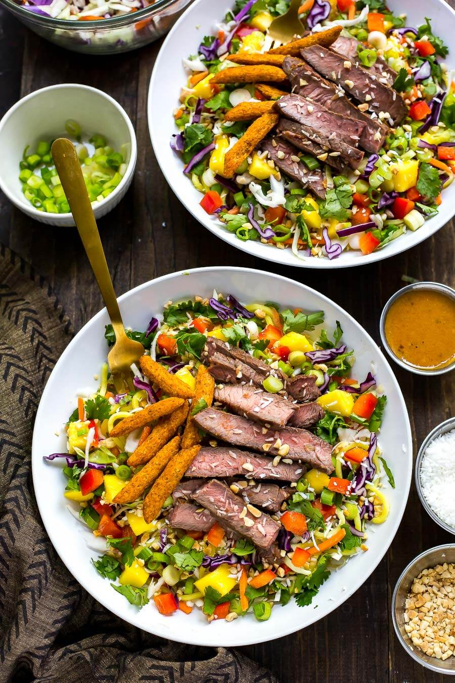Asian Inspired Steak Noodle Salad Bowls