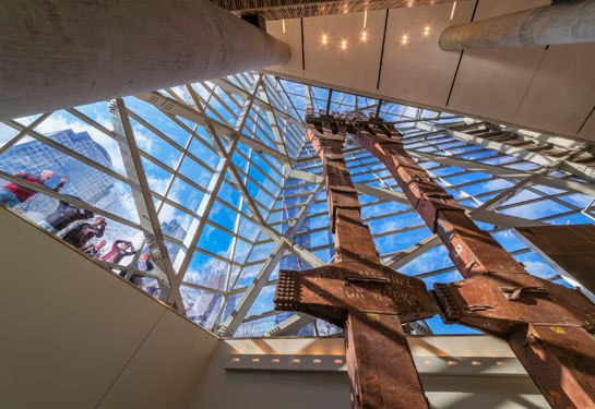 A pair of columns salvaged from the fallen twin towers in the pavilion's atrium. Photo: Jeff Goldberg/ESTO