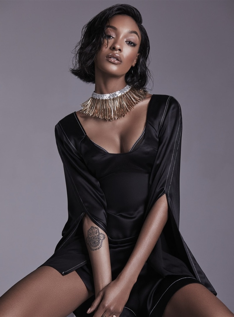 Model Jourdan Dunn poses in sleek looks for the fashion editorial