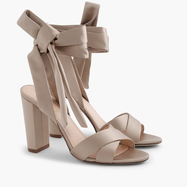 Satin Sandals With Ankle Wraps, $179.99 at J.Crew