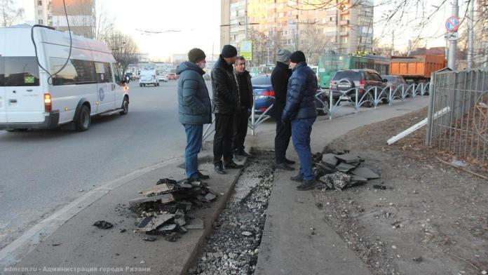 Выявлены нарушения в благоустройстве подходов к остановке в Рязани