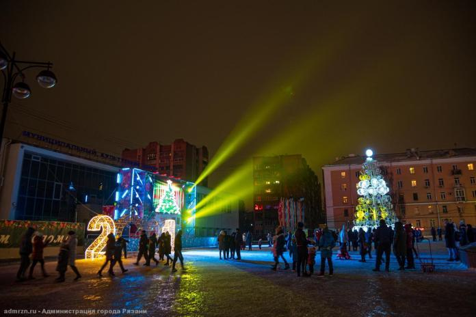 В центре Рязани показали световое шоу