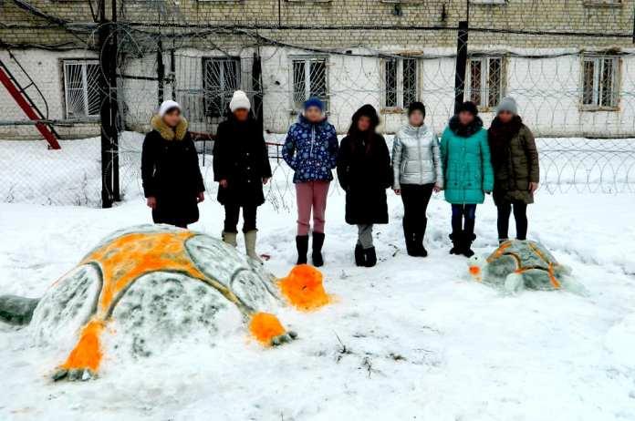 В рязанских учреждениях УИС провели конкурс на лучшую снежную фигуру