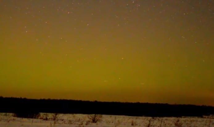 В Рязанской области сняли на видео полярное сияние