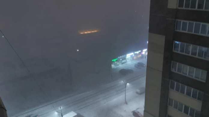 В городе Рязани наблюдали снежную грозу