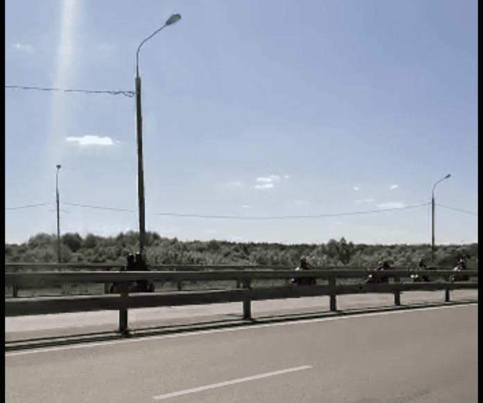 В Рязани засняли колонну байкеров