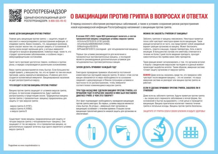 В Рязанском Роспотребнадзоре ответили на популярные вопросы о вакцинации против гриппа