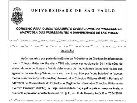 USP cancela matrículas de estudantes de colégios militares aprovados pelo Sisu